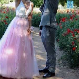Long ballgown with pink lace and deep v neckline